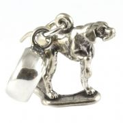 English Pointer Dog Sterling Silver 3D Dangle Charm / Carrier Bead